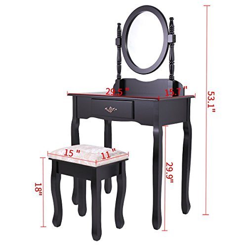 Classical Vanity (Black Vanity Makeup Dresser Set Dressing Jewelry Desk with Drawer Adjustable Oval Mirror Comfy Cushioned Stool Classical Europe Style Bedroom Table)