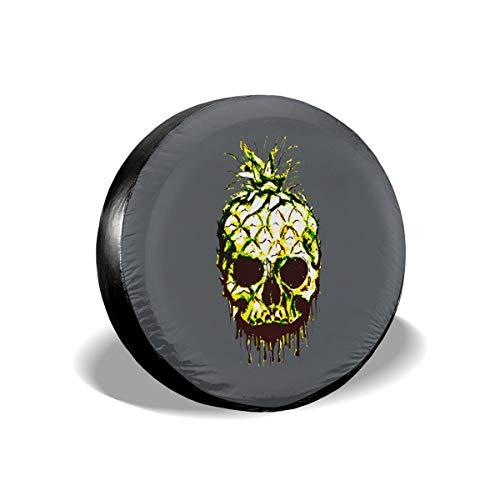 (Pokuisnb Sunscreen Skull Pineapple Letter Spare Tire Covers for All Cars 17 Inch)