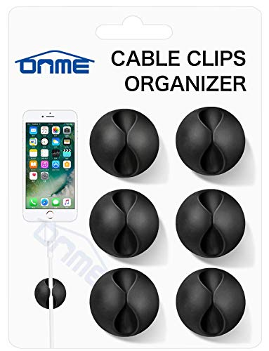 (ONME Multipurpose Cable Clips (Black 6pcs))