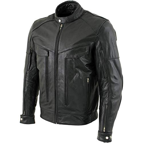 Xelement B4495 'Bandit' Men's Black Buffalo Leather Cruiser Motorcycle Jacket with X-Armor Protection - 4X-Large
