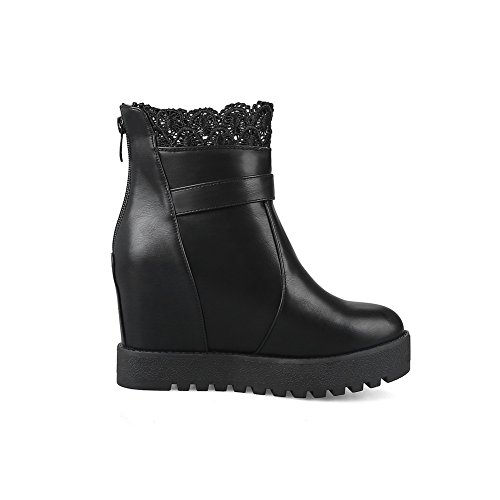 Adjustable Boots Waterproof AN Ruched Black Strap Heeled Womens Closure A No Boots DKU01823 Closed Warm Toe amp;N Urethane Lining Cushioning qxPt8fxwg