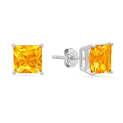 14k White or White Gold Solitaire Princess-Cut Citrine Stud Earrings (7mm)