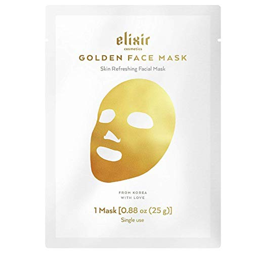 Golden Mask - Elixir Cosmetics 24K Gold Korean Collagen Face Mask - Anti-Aging & Moisturizing Peel Off Facial Sheet Mask - 1 Pack