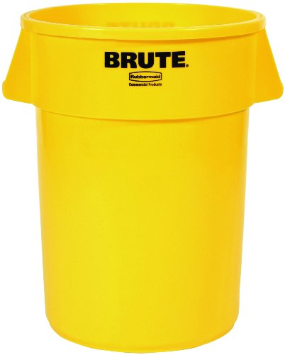 Rubbermaid Commercial FG264300YEL Brute LLDPE Heavy-Duty Trash Can without Lid, 44-gallon, Yellow