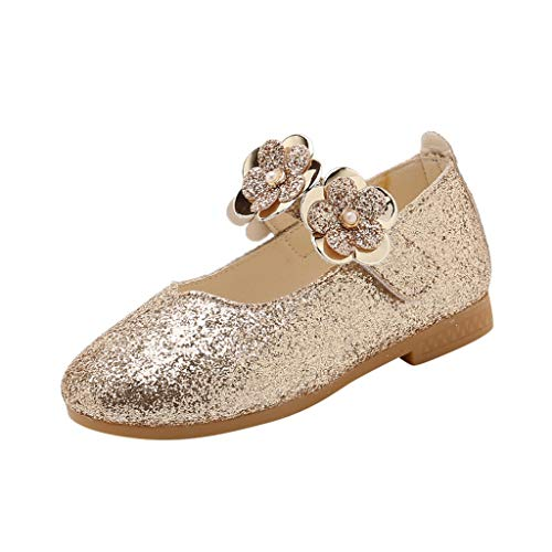Pengy Childrens Princess Sandals Infant Kids Baby Girls Flower Shoes Bling Sequins Single Casual Shoes Gold