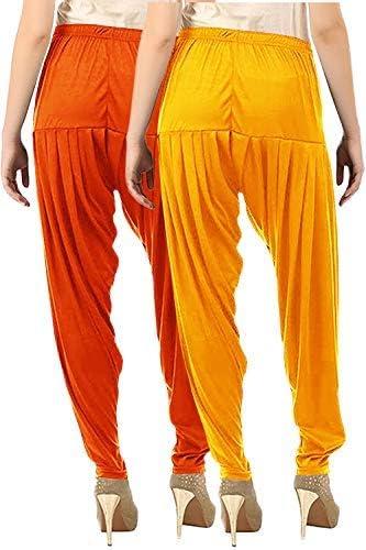 Buy That Trendz Lot de 2 pantalons en coton viscose lycra Dhoti Patiyala Salwar Sarouel mangue jaune clair orange