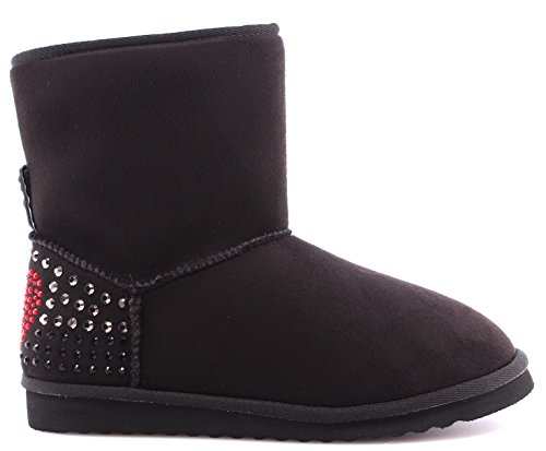 Chaussure Femme Ankle Boot LOVE MOSCHINO JT100A Ugg Camoscio Nero Black Noir New