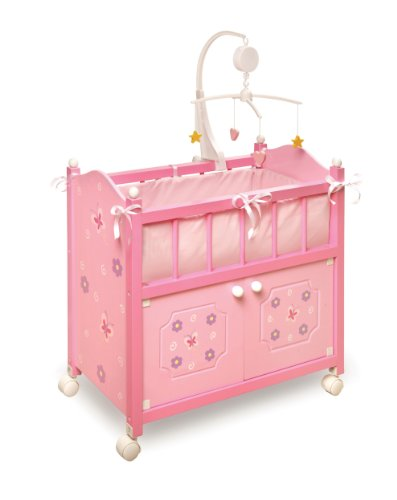 Badger Basket Blossoms And Butterflies Doll Crib With Cabinet Bedding And Mobile - Pink/Purple