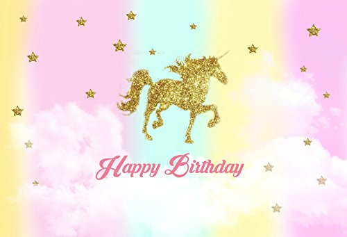 (OFILA Unicorn Birthday Backdrop 5x3ft Magic Stars Colored Texture Kids Party Decoration Children Cake Smash Background Toddlers Boys Little Girls Portraits Family Photos Video Studio Props)