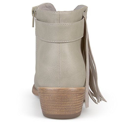 Collezione Journee Da Donna In Ecopelle Impunturata Con Tacco In Caviglia E Frange Di Pietra