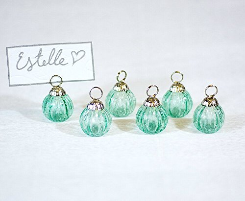 Luna Bazaar Mini Glass Bauble Place Card Holders (1.25-Inch, Turquoise Blue, Set of 6) - For Home Decor and Wedding Tabletops