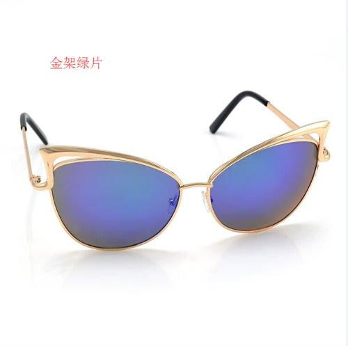 XENO-Women's Gold Retro Cat Eye Sunglasses Classic Designer Vintage Fashion - Cartier Gold Sunglasses