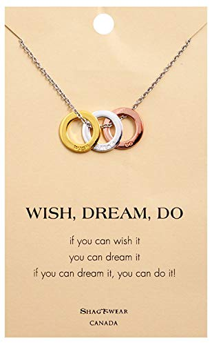 (Shag Wear Make a Wish and Luck Inspirations Quote Pendant Necklace (Wish Dream Do Pendant))