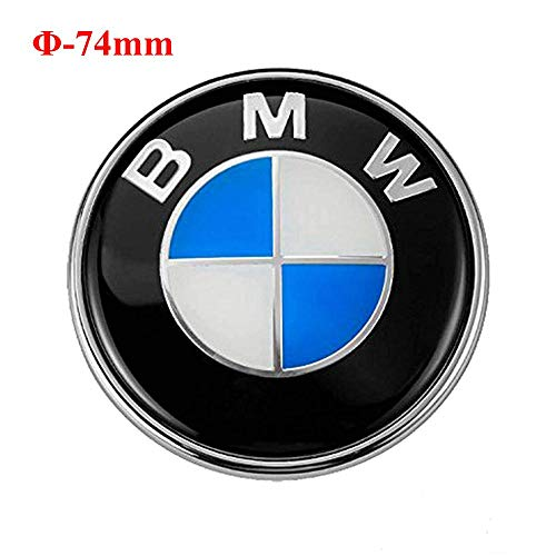 - 74mm BMW Emblem, 2 Pin Replacement Badge Hood or Trunk Logo Fit for BMW 3-Series, 5-Series, 6-Series, 7-Series, X1, X3, X5