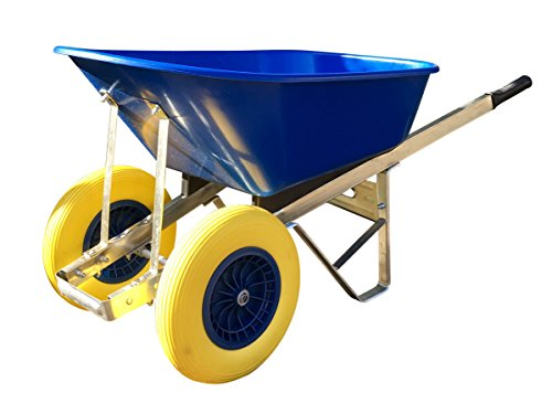 120L Twin Wheelbarrow Blue Twin Wheels with Puncture Proof Tyres - Assembled