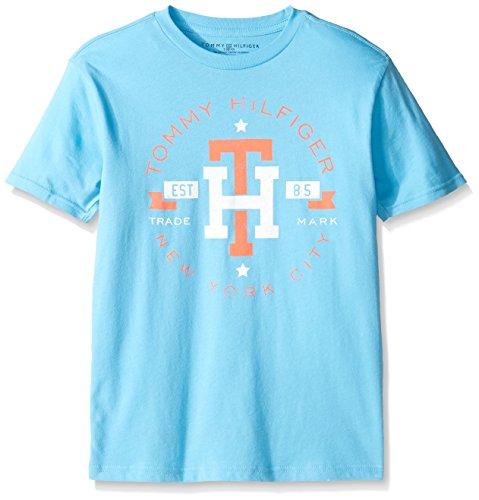 Tommy Hilfiger Denim Men's Big Boys' Tommy Hilfiger Graphic Short Sleeve Tee, ZEN Blue, Small - Hilfiger Tommy Kids Shop