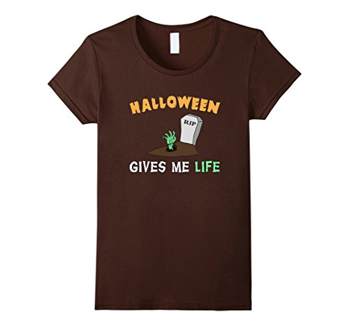 Womens Halloween Gives Me Life Pun T-Shirt Small (Cult Classic Movie Halloween Costumes)