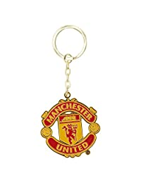 Manchester United FC Official Metal Football Crest Keyring (One Size) (Red)