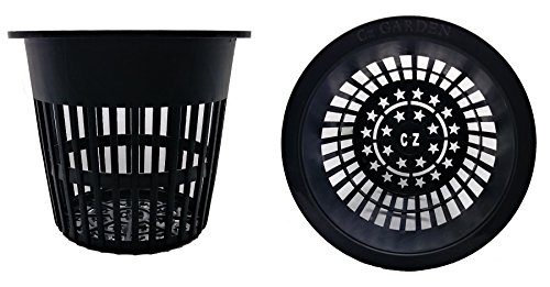 Cz Garden Supply 25 pack - 4 inch Round HEAVY DUTY Net Cups Pots WIDE LIP Design - Orchids • Aquaponics • Aquaculture • Hydroponics Slotted Mesh by (4 inch Cz All Star Net Pots - Black) (Net Round Pot)