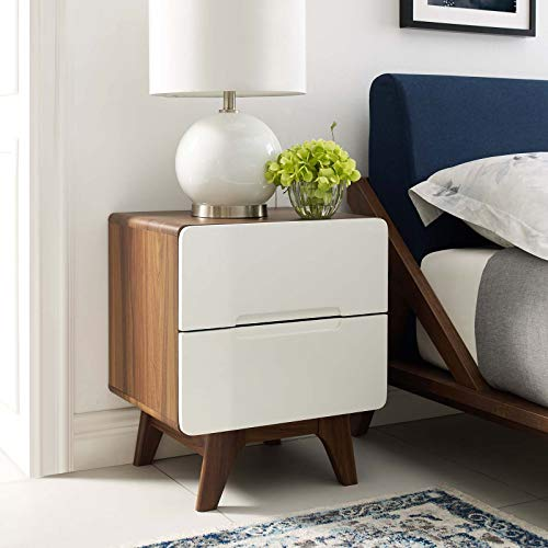 Modway Origin Contemporary Mid-Century Modern 2-Drawer Bedroom Nightstand in Walnut White