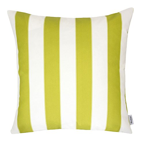 Homey Cozy Outdoor Throw Pillow Cover, Classic Stripe Lime Green Large Pillow Cushion Water/UV Fade/Stain-Resistance For Patio Lawn Couch Sofa Lounge 20x20, Cover Only