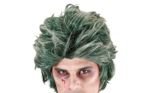 widmann 06741 – Green Zombie Wig for Men, Green, One -