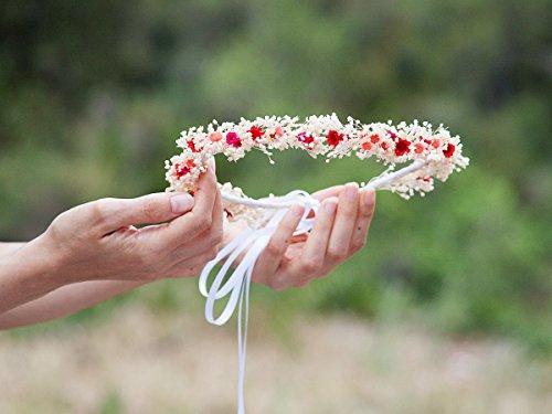 Dried flower crown daisiesrustic bride. Flower crown hair accessories rustic wedding.