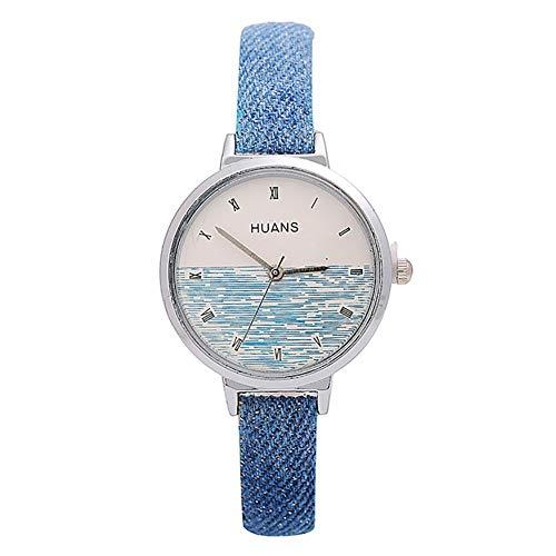 Lightclub Denim Women Roman Numerals Soft Faux Leather Mesh Thin Band Quartz Wrist Watch - Blue