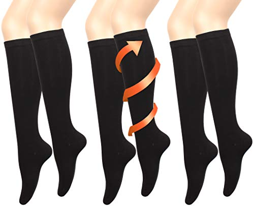 JOAH Women's Knee High Stay Up Socks Solid Pattern 3-Pack Women's Shoe Size 5-9 (Solid Black) ()