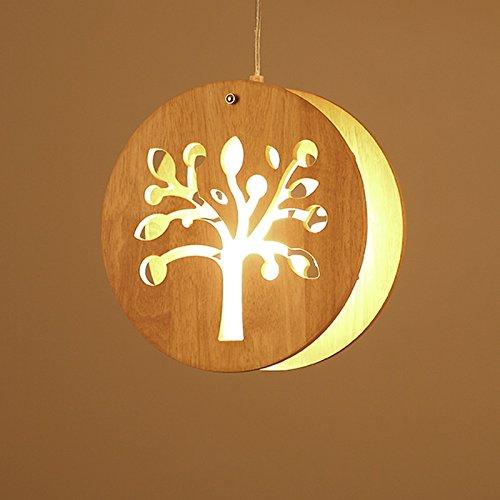 Petit lustre, lustre créatif, lustre trois dans le restaurant japonais, lampe simple d'escalier de lustre en bois de tatami, soleil (28  28cm)