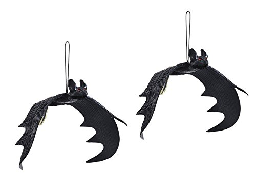 2 Life-Size Black Hanging Rubber Bats, Great for Halloween!]()