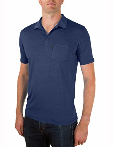 Woolly Clothing Men's Merino Wool Polo Shirt - Ultralight - Wicking Breathable Anti-Odor M NVY
