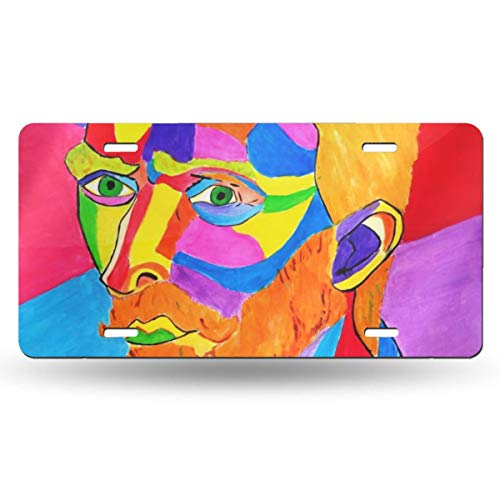 Idshiohdoih Van Gogh Portrait Color Handsome Retro License Plate Novelty Mark Sign License Plate Design Vanity Aluminium Print for Ornament Decorative Metal Novelty