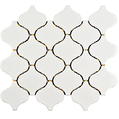 "SomerTile FMALTGW Deriba Lantern Porcelain Mosaic Floor and Wall Tile, 9.5"" x 10.75"", Glossy White"