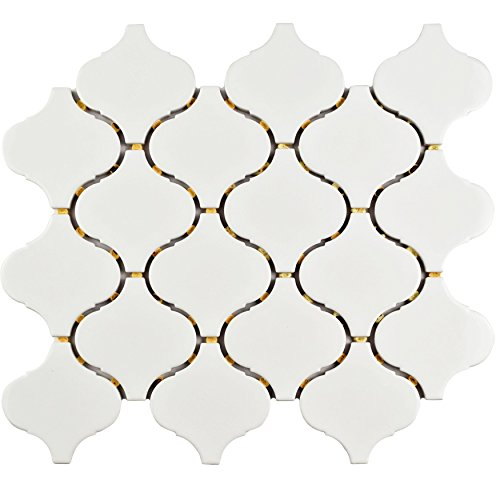 SomerTile FMALTGW Deriba Lantern Porcelain Mosaic Floor and Wall Tile, 9.5