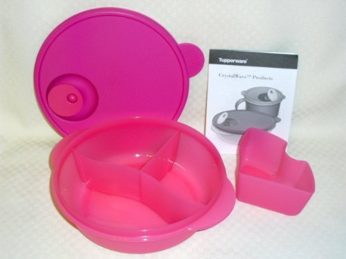 (Tupperware CrystalWave Lunch N Dish Divided Microwave Bowl Pink)