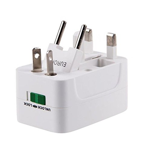 Rocona International Universal Outlet Plug for Global Travel Power Adapter Charger White