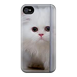 For Saraumes Iphone Protective Case, High Quality For Iphone 4/4s Cute White Cat Skin Case Cover