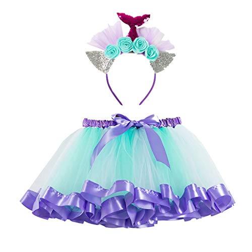 Lomsarsh Girls Skirt Kids Tutu Party Dance Ballet Toddler Baby Costume Skirt+Headband Set Children's Mesh Tutu Skirt Pettiskirt + Hair Band Two-Piece Suit]()