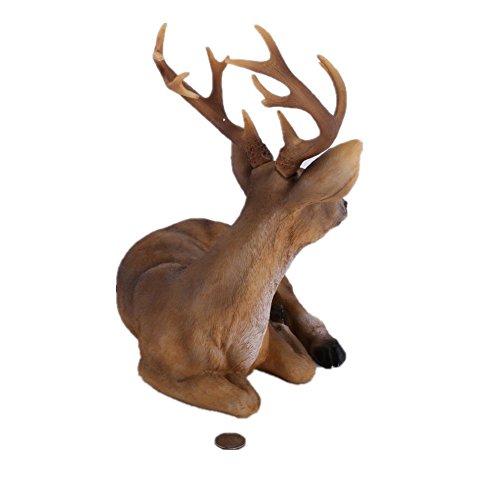 Haoming Deer Lying Outdoor Garden Statues Small Buck Resin Reindeer Lawn Statuary Elk Figurines