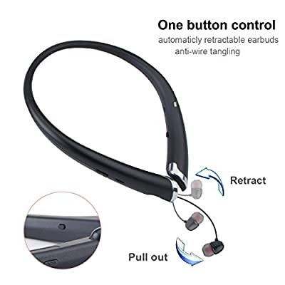 Bluetooth Headphones, Wireless Earbuds Retractable Neckband Headset Stereo Sweat-proof Sports Earphones with Mic for iPhone X/8/7/6, Android and Other Bluetooth Devices