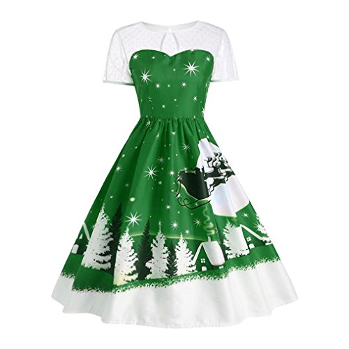 DRACLE Christmas Dress for Womens, O-Neck Short Sleeve Lace Pint Up Party Swing Yoke Dress (Green D, S) Round Yoke Dress