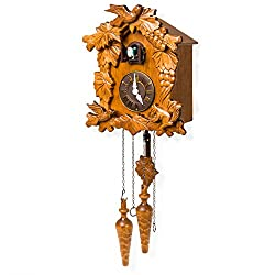 Best Choice Products Handcrafted Wood Cuckoo Clock w/Adjustable Volume, Night Sensor