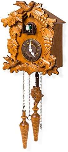 Best Choice Products Handcrafted Wood Cuckoo Clock w Adjustable Volume, Night Sensor