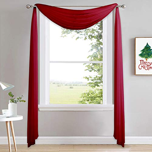 NICETOWN Decorative Scarf Curtain 216 Long - Voile Sheer Home Decor Scarf Valance Window Treatment for Christmas/Thanksgiving (W60 x L216, 1 Panel, Haute Red)