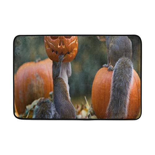 Lisang Halloween Fun Autumn Squirrels FAL Door Mat Decorative Door Mat Indoor Outdoor House Doormat High Traffic Areas Non Slip Machine Washable Door Mats 23.6(L) x 15.7(W) ()