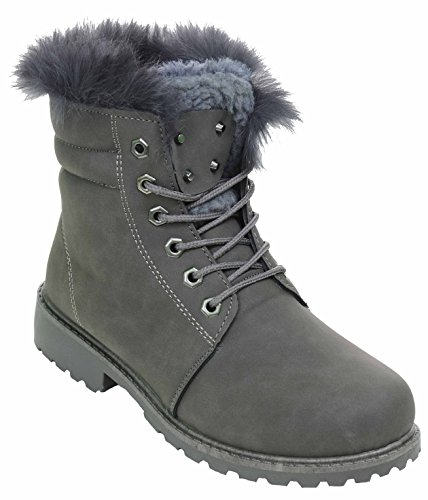 (Fur & Shearling Trim Lug Boots Vegan Suede Booties Women's Grey 7.5)