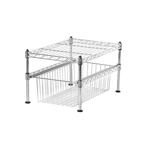 Seville Classics UltraZinc 2-Tier Pull-Out Sliding Basket Cabinet Organizer (Baskets Pullout Wire)