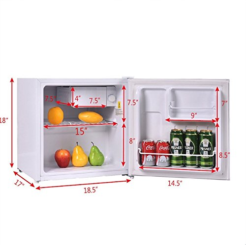 White 1.8 Cubic Feet Compact Single Reversible Door Mini Refrigerator Cabinet With Internal Freezer Adjustable Temperature Easy To Care Ideal For Use In Dorm Office Or Your Mini Bar