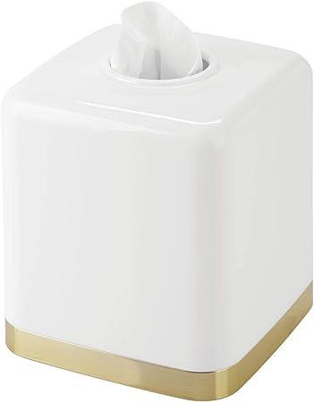 Pratico porta fazzolettini e portatovaglioli in plastica per il bagno o per lufficio bianco//argento Moderna ed elegante copertura per scatole di fazzoletti mDesign Scatola porta fazzoletti